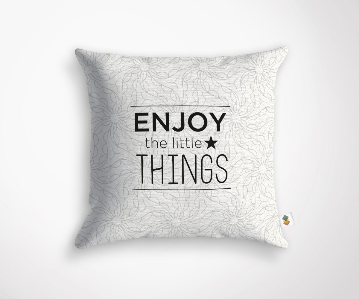 Coussin design message enjoy the little things for Eames coussin