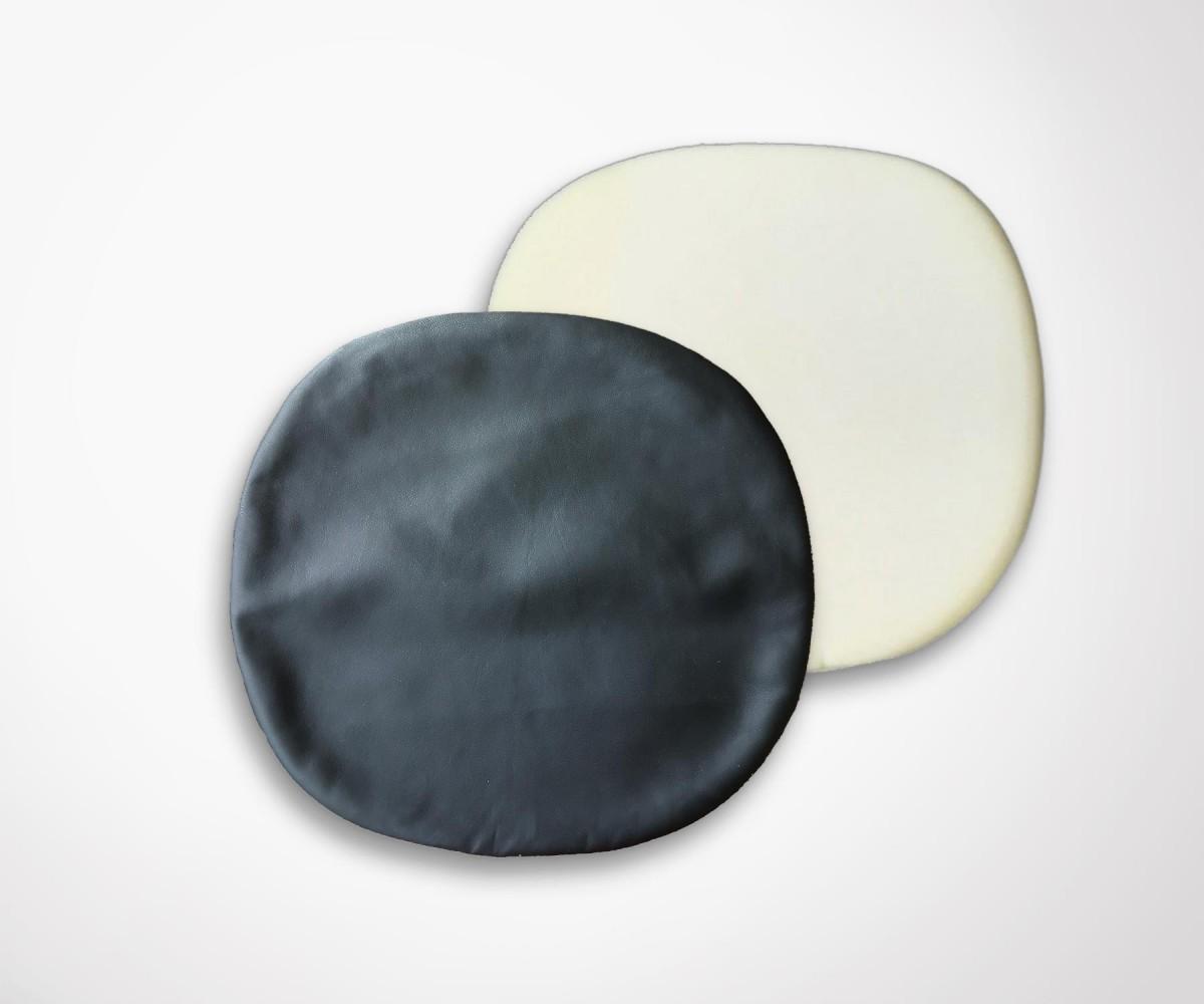 Coussin de remplacement chaise tulip simili cuir noir for Chaise salon cuir