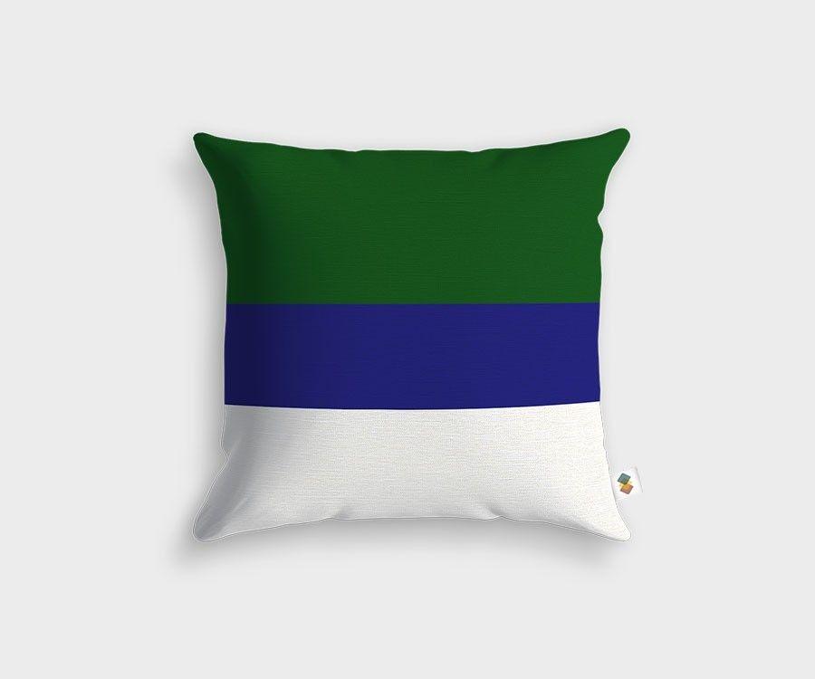 Coussin design de style moderne motifs lin aires vert et bleu for Housse de coussin baroque